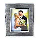Faux Leather Black Silver Photo Frame