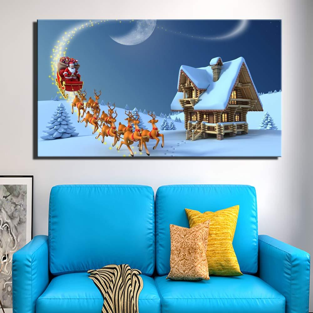 Decoración de Navidad Carteles de Pared Sin Marco Gran tamaño Papá Noel Ciervo de Navidad Paisaje Imágenes Modernas para la Pared de la Sala de Estar: Amazon.es: Hogar