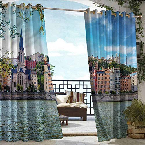 - Outdoor Balcony Privacy Curtain European,Lyon City Village France,W96 xL96 Outdoor Curtain Waterproof Rustproof Grommet Drape