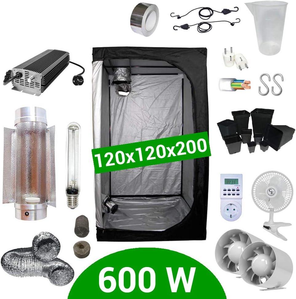 Supacrop Kit de Cultivo Interior 600W SHP Cooltube Protube - Armario 120x120x200 - Balastro electrónico con Dimmer
