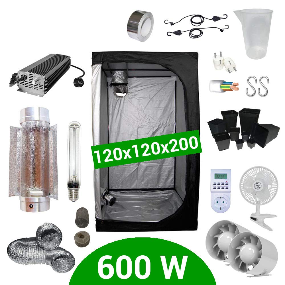 Growbox Komplettset 600 Watt HPS Cooltube Protube 120x120x200 cm - Elektronisches Vorschaltgerät