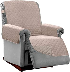 Sofa Shield Original Patent Pending Reversible Small Recliner Protector, Many Colors, Seat Width to 25 Inch, Furniture Slipcover, 2 Inch Strap, Reclining Chair Slip Cover Throw for Pets, Light Taupe