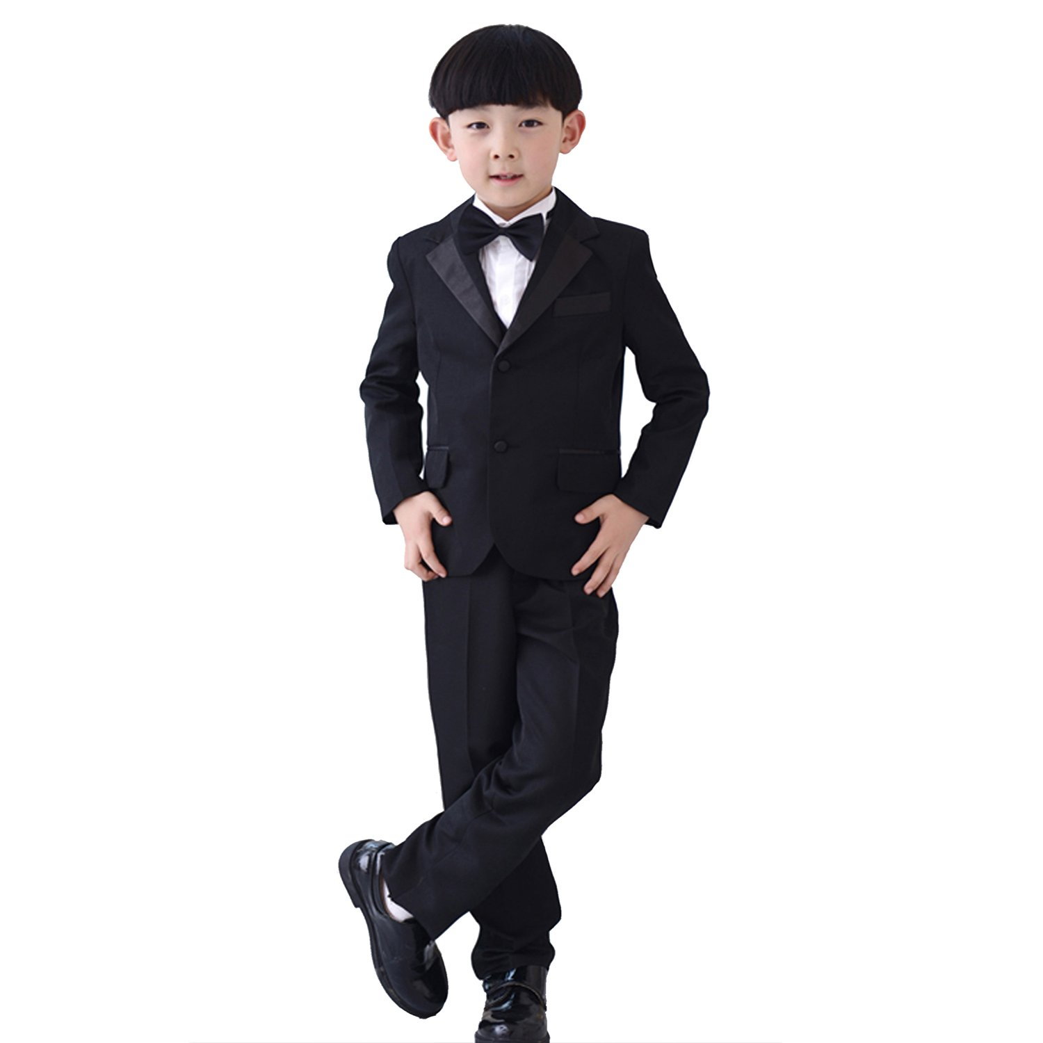 7 Pcs Boys Formal Blazer Children Tuxedo Ring Bearer Wedding Party Suit Black (1-2 Years)