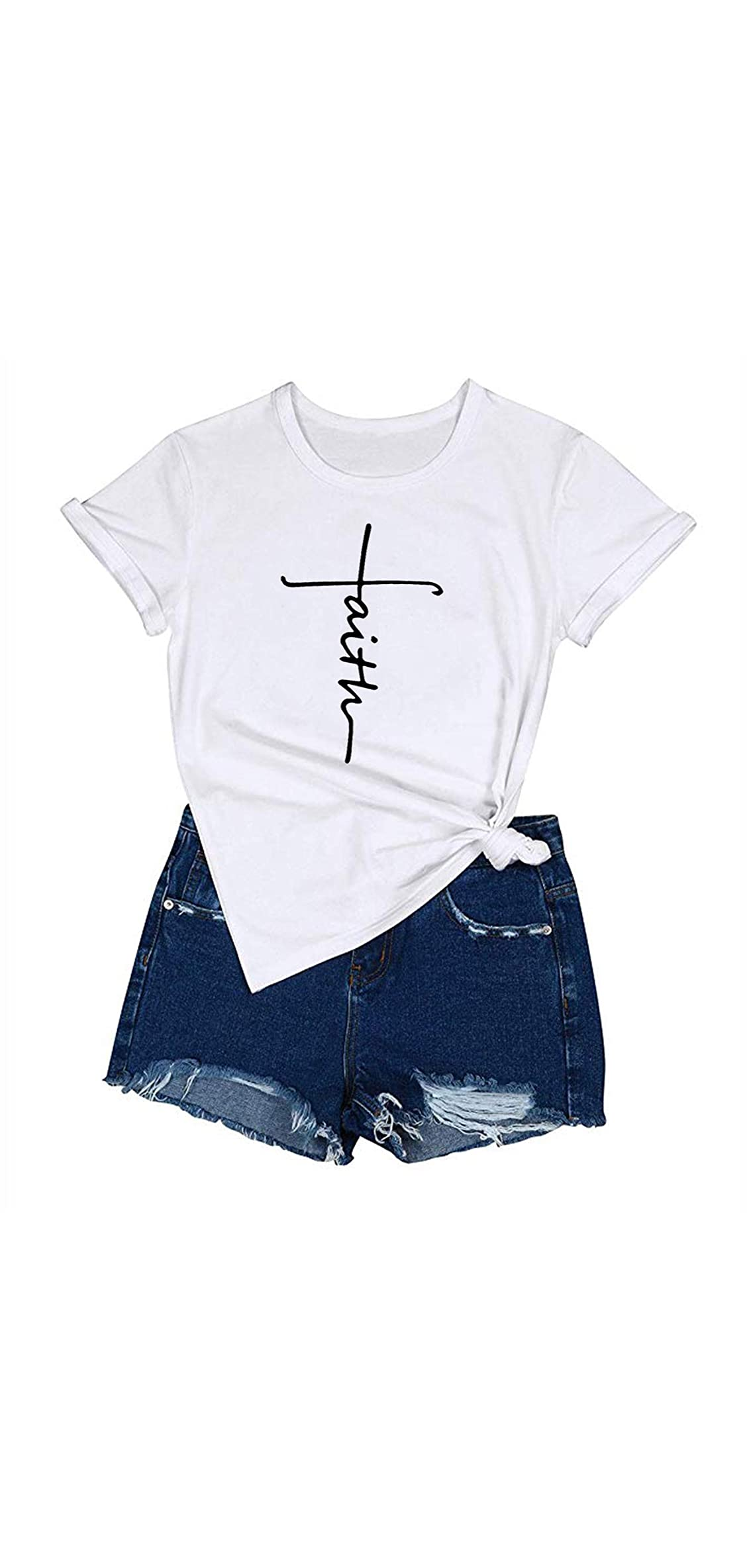 Women's Cross Faith T-shirt Casual Short Sleeve And Long