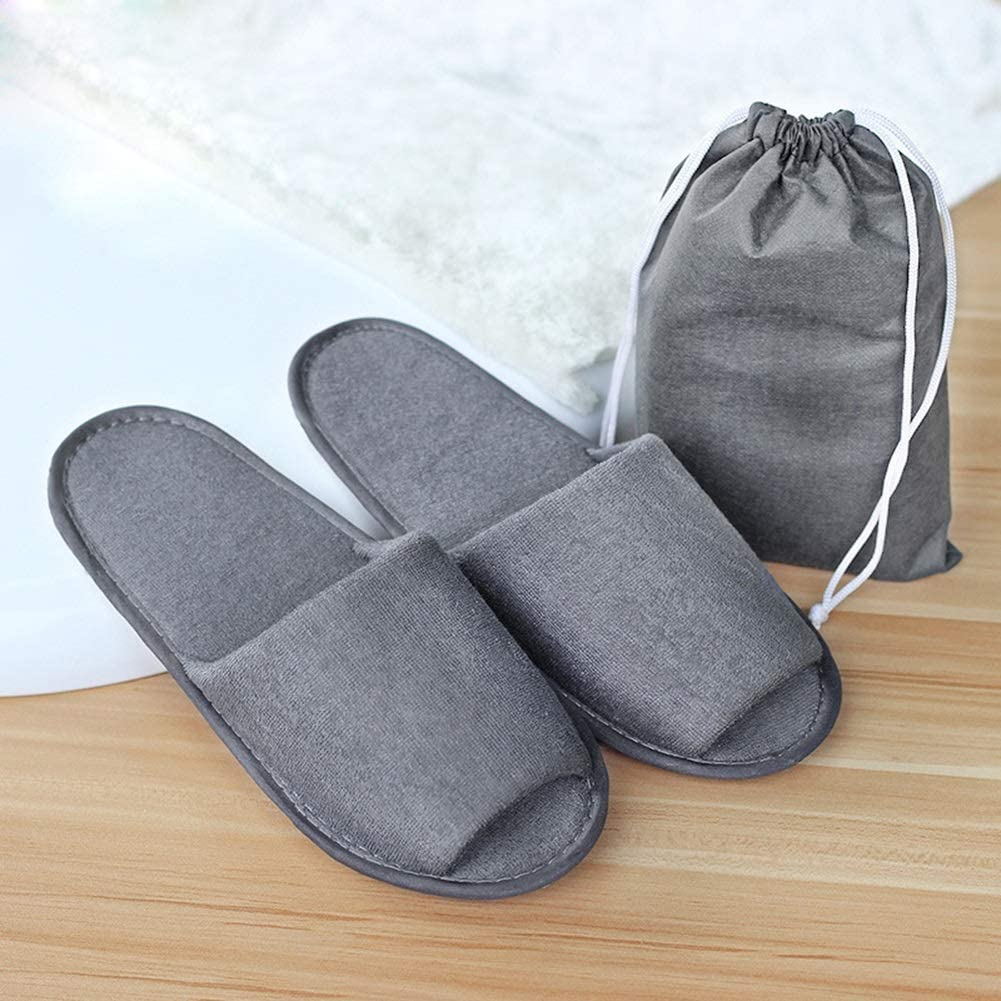 zyy Disposable Slippers, Home Slippers Adult Folding Portable Travel Slippers (10 Pack) Gray