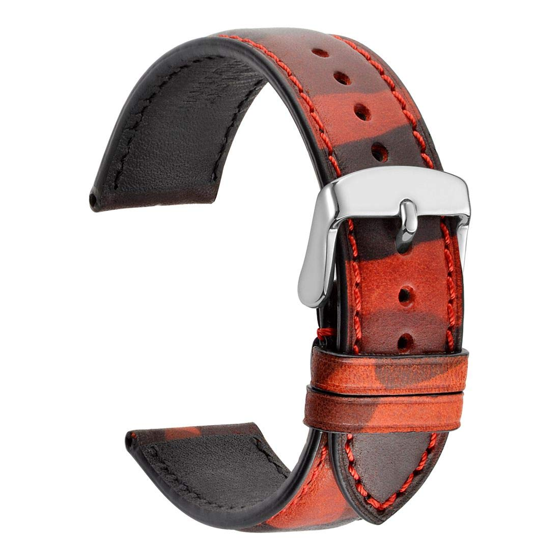 WOCCI 22mm Leather Watch Band Replacement - Camo Series Watch Strap for Men or Women (Flames/Red)