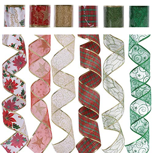 """CXDY Christmas Wired Ribbon, Assorted Plaid Sparkling Decorations Wired Sheer Glitter Tulle Ribbon 36 Yards (2.5"""" Wide x 6Yard Each) - Floral Poinsettia Plaid Gold"""