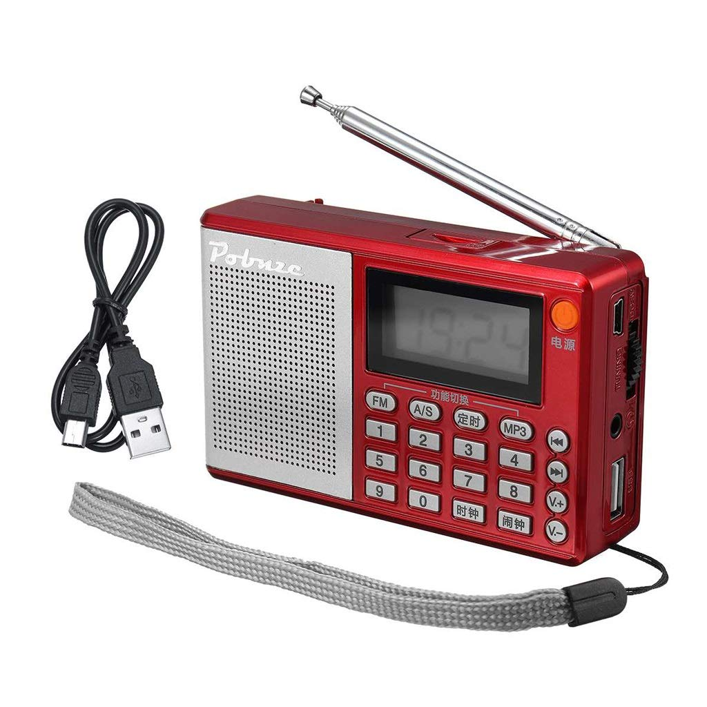 ZWS Radio Portable Pockets Radio FM AM SW Speaker Digital MP3 Player USB Clock Alarm LED Display Current Affairs Information (Color : Red, Size : 10.5cm)