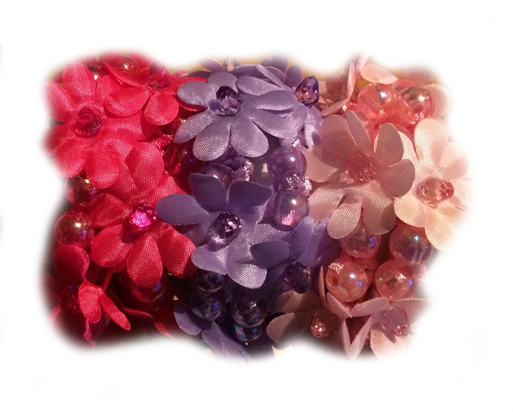 Amazon Flower Beads Hair Scrunchies Doubles As Wristband