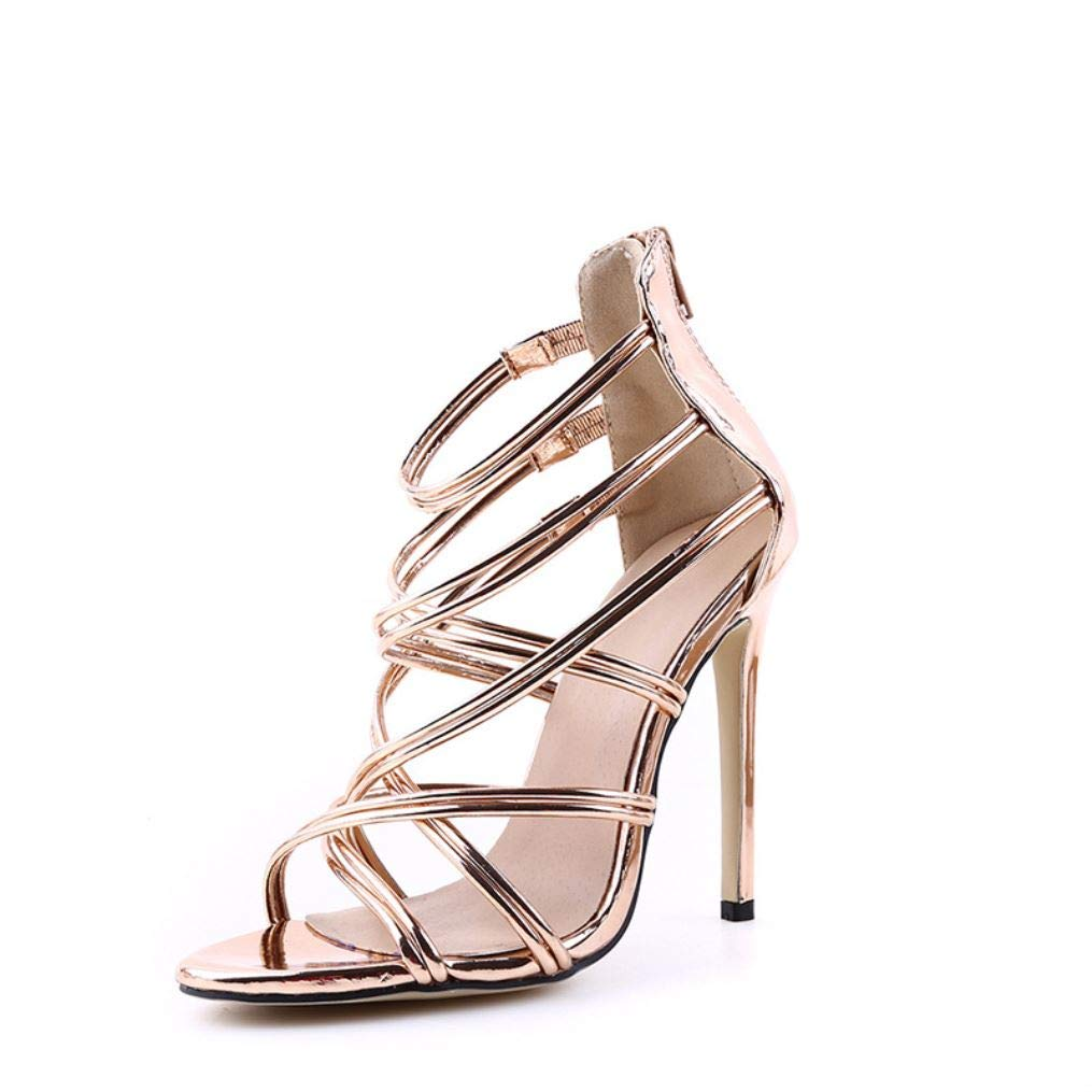 gold Women's shoes with Hollowed-Out Cross-Ribbon high-Heeled Sandals