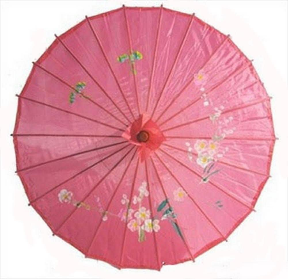 JapanBargain 2164, Japanese Parasol Chinese Asian Nylon Umbrella Parasol for Photography Cosplay Costumes Wedding Party Home Decoration Adult Size, 32 inch, Hot Pink