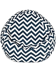 Majestic Home Goods Classic Bean Bag Chair - Chevron Giant Classic Bean Bags for Small Adults and Kids (28 x 28...