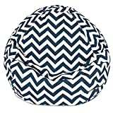 Majestic Home Goods Classic Bean Bag Chair - Chevron Giant Classic Bean Bags for Small Adults and Kids (28 x 28 x 22 Inches) (Navy Blue)