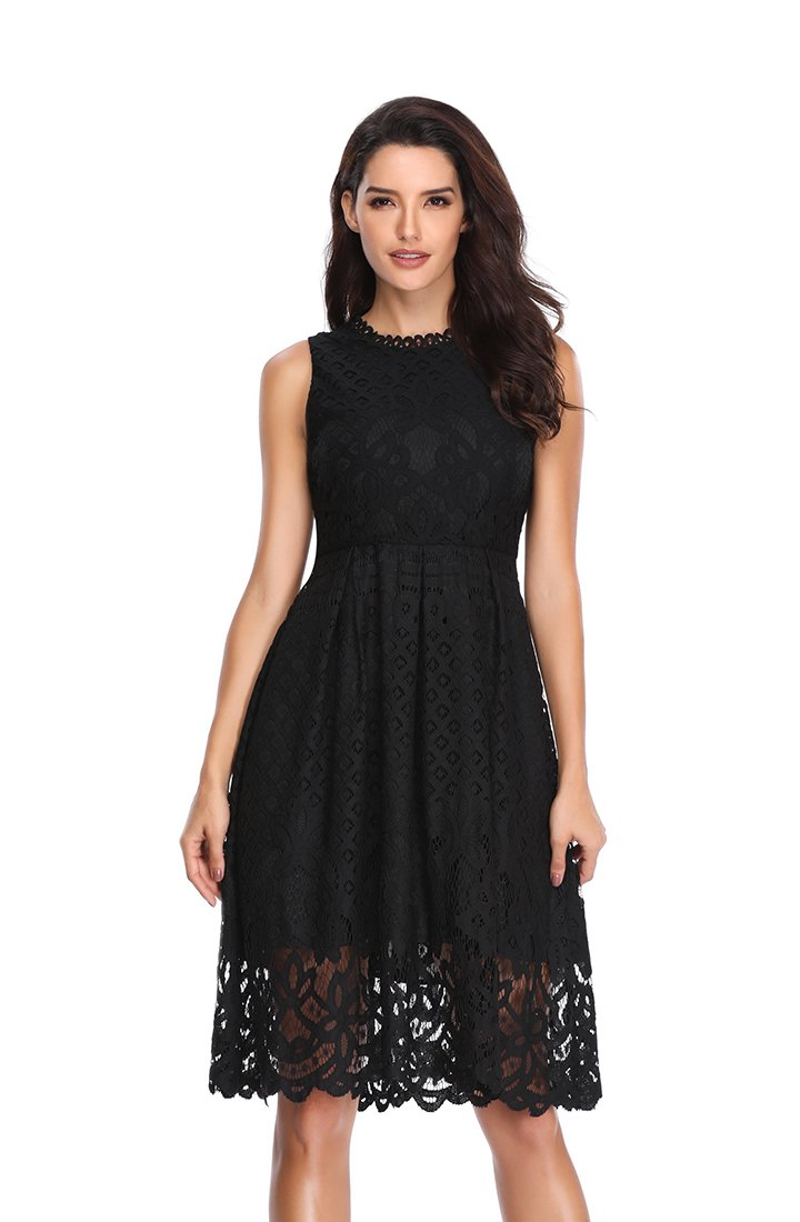 Starw Women's Sleeveless A Line Lace Cocktail Wedding Party Midi Swing Tea Dress AP0017 L Black
