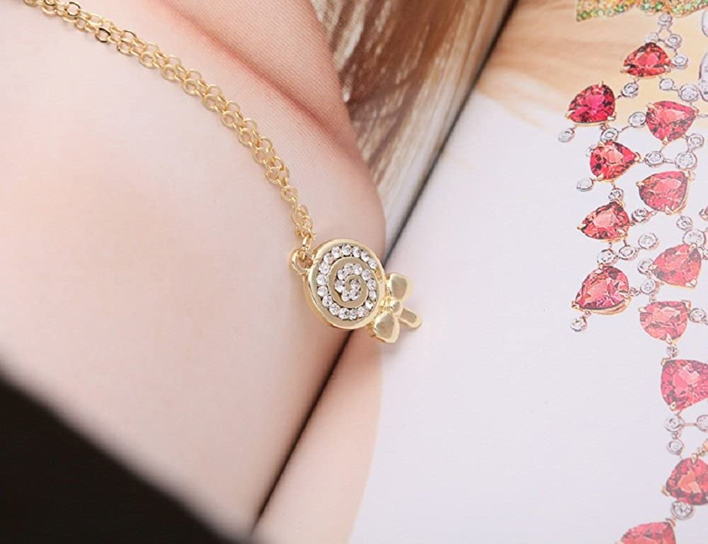 TUSHUO Gold-Plated Rhinestone Childlike Lollipop Pendent for Women Child,Adjustable Chain 18