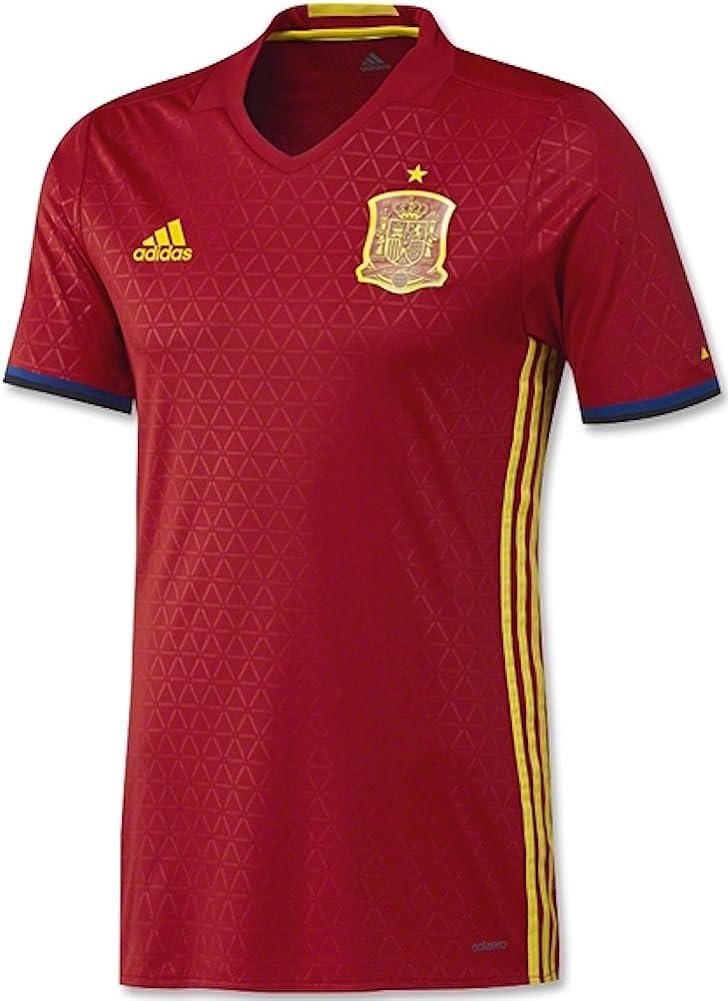 adidas Men's Spain 15/16 Authentic Home Scarlet/Lemon Peel Jersey