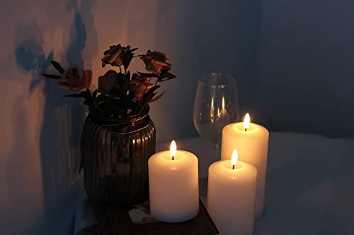 GenSwin 3D Wick Flameless Flickering Candles Battery Operated with 6H Timer, Real Wax Pillar LED Votive Candles Warm Light, Set of 3 Perfect for Party Wedding Home Decor White, D3 x H4.6 5.8 6.8