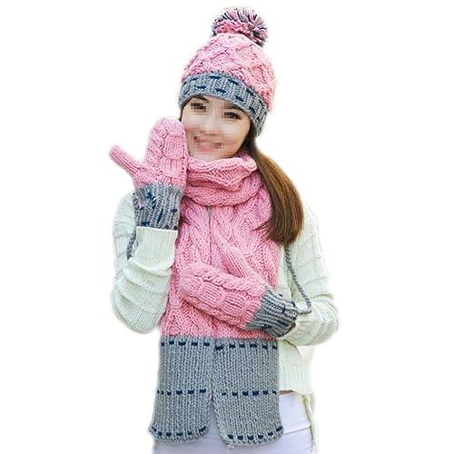 Mujer (niña) Cumpleaños Navidad Invierno Gruesa Cálida Bufanda Sombrero Conjunto De Tres Piezas De Esquí,Pink-OneSize