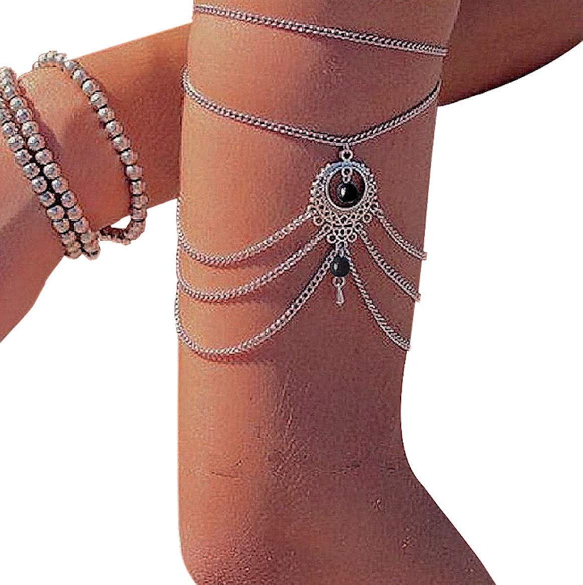 pour Soir/ée Mariage Sorties Cha/îne de Bottes pour Femme /Él/égant Raffin/é D/élicat Chaine Bijou Onyx Pendentif Body Wrap Bracelet de Cheville Pied ou Bras