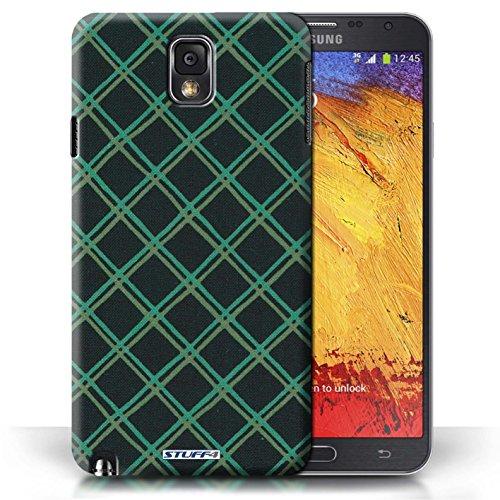 Etui / Coque pour Samsung Galaxy Note 3 / Vert/Noir conception / Collection de Motif Entrecroisé