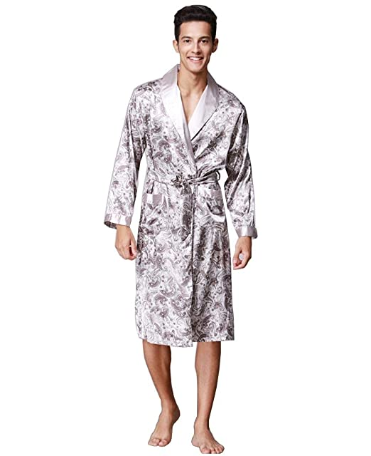 HX fashion Hombres Y Otoño Largo Camisón Hombres Similares Albornoz Tamaños Cómodos Seda Pijama Hombres Hombres