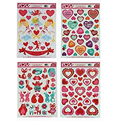 Valentine's Day Static Cling Window Decorations - 4 Large Sheet Sets