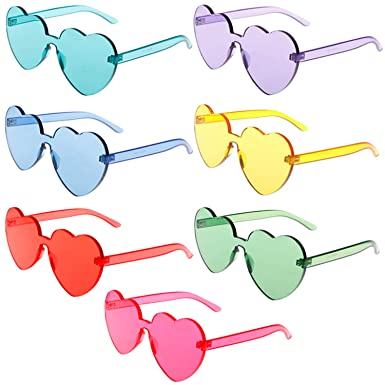 5ac67e6b3c6 Xgood 7 Pieces Heart Shaped Sunglasses Rimless Sunglasses Love Heart  Glasses Transparent Candy Color Women Girls 7 Colors Frameless Eyewear