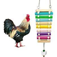 Vehomy Chicken Xylophone Toy for Hens Suspensible Wood Xylophone Toy with 8 Metal Keys Chicken Coop Pecking Toy with…