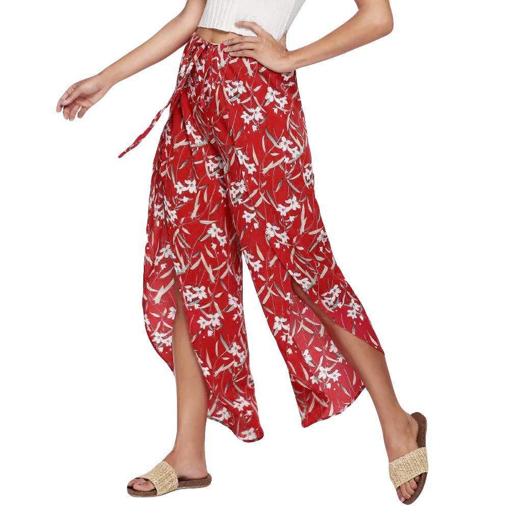 LOVELYOU Femme Large Jambe Sarouel Yoga Pantalon Mode Ouvertes Taille Haute Imprimé Loose Plage Casual Trousers