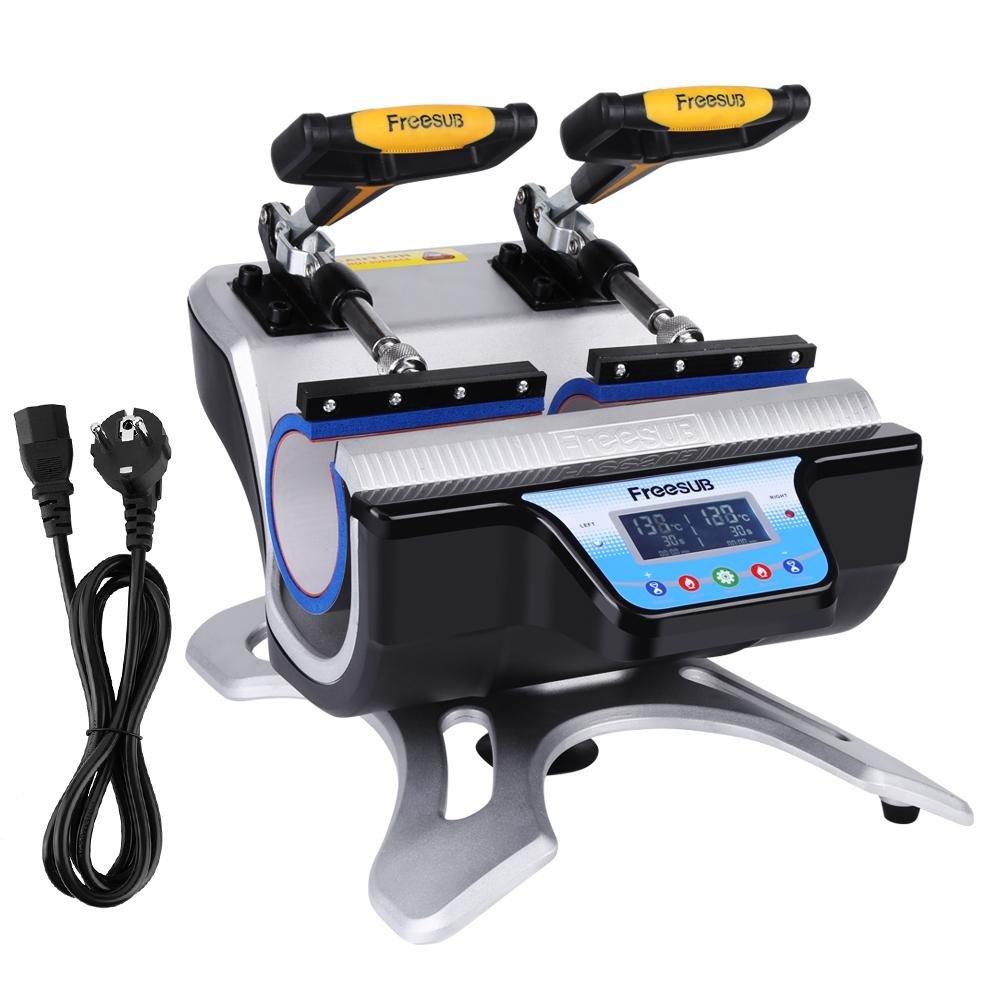 GOTOTOP Pressa Di Calore Trasferimento Press per Stampa a Sublimazione, Pressa a Caldo per Tazze, Macchina automatica Stampa 2 In 1 Heat Press per 2 tazze, con Controller LED Digitale