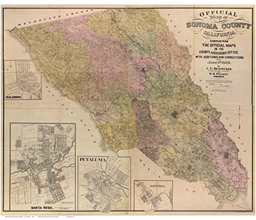 Sonoma County California 1900 - Wall Map with Landowner Names Farm Lines Genealogy Old Map Reprint