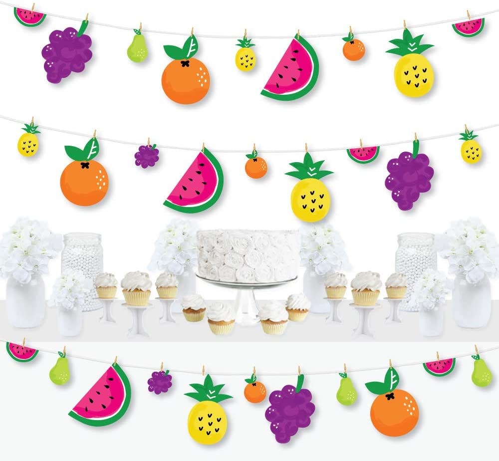 Frutti Summer Baby Shower or Birthday Party DIY Decorations Big Dot of Happiness Tutti Fruity Clothespin Garland Banner 44 Pieces