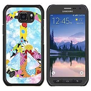 TECHCASE---Cubierta de la caja de protección para la piel dura ** Samsung Galaxy S6 Active G890A ** --Hippie símbolo de paz de las flores coloridas de primavera
