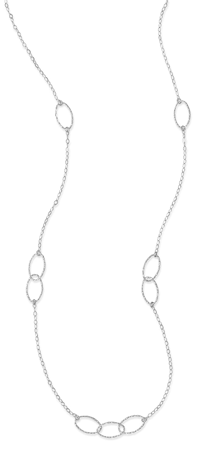 27-1//2 inch Rhodium Plated Sterling Silver Necklace 2x3mm Flat Diamond//10x17mm Twisted Oval Links