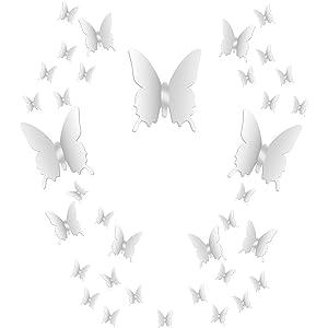 36 Piezas de Mariposas de Espejo DIY Combinación 3D Espejo Pegatinas de Pared Decoración de Hogar