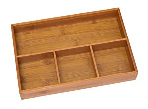 "Lipper International 824 Bamboo Wood 4-Compartment Organizer Tray, 11 5/8"" x 7 7/8"" x 1 3/4"""