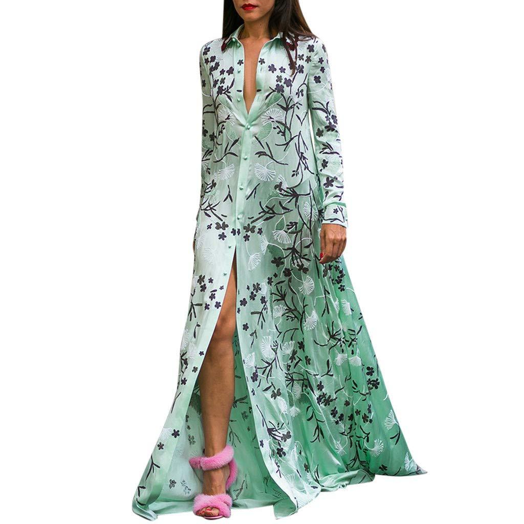 Han Shi Women's Casual Floral Print Turn-Down Collar Long Button-Down Shirts Blouse Long Maxi Dresses(Green,2XL) by Han Shi-Dress