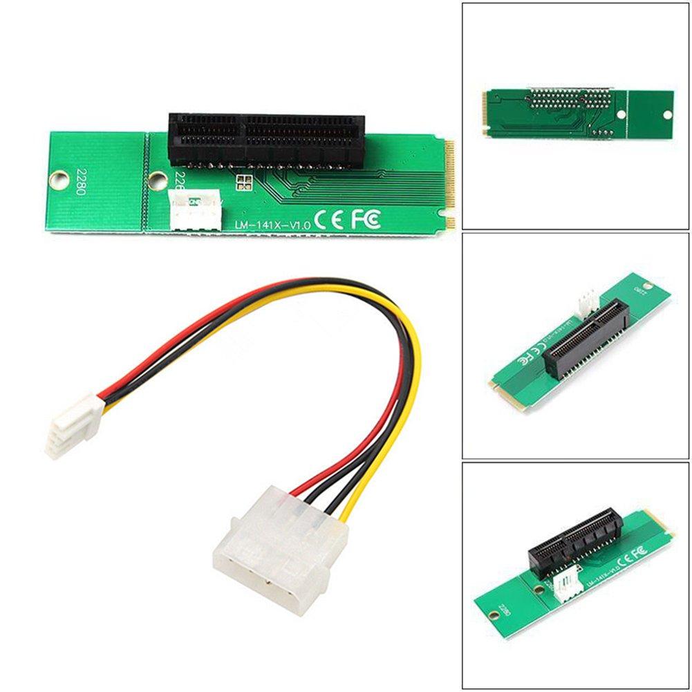 Rokoo Tarjeta PCI-e de alta velocidad 1X / 4x a NGFF M.2 M Key PCIe Slot Adapter