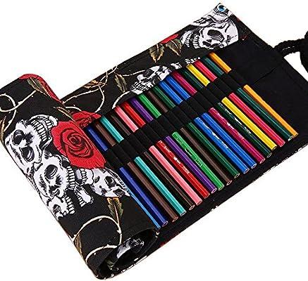 jecxep Lienzo Wrap Soporte para rollo de papel de Colored Pencil, funda para lápices, organizador estuche de viaje para artista, multiuso (no contiene lápices) 36-holes: Amazon.es: Hogar