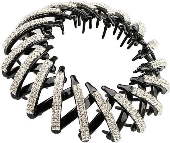 Kunststoff Doppelreihen Pferdeschwanz Halter Kristall Haarspangen Haarteile