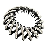 Fenteer Plastic Two Rows Crystal Rhinestone Hair Claws Clips Ponytail Holder Hairpieces