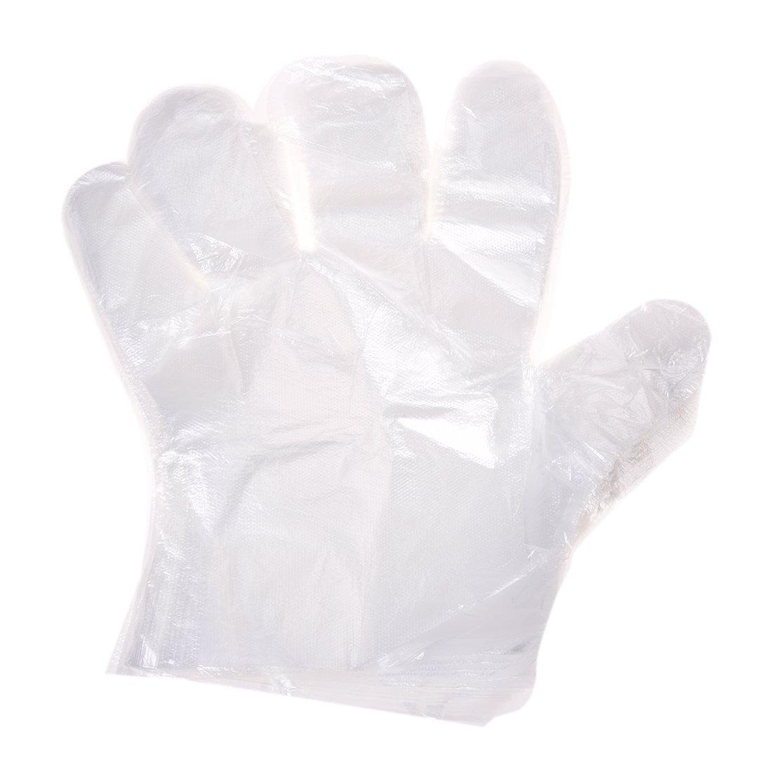 SODIAL(R) 50 Paire Cuisine Service Main Protection Plastique Gants Jetables Claires AEQW-WER-AW128196