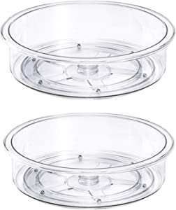 Lazy Suan Turnable Food Storage Container Rotating Condiments Spice Rack Spinning Organizer for Kitchen Cabinets, Pantry, Refrigerator, Countertops, Bathroom Vanity, 9.8'' Round, Clear - Set of 2