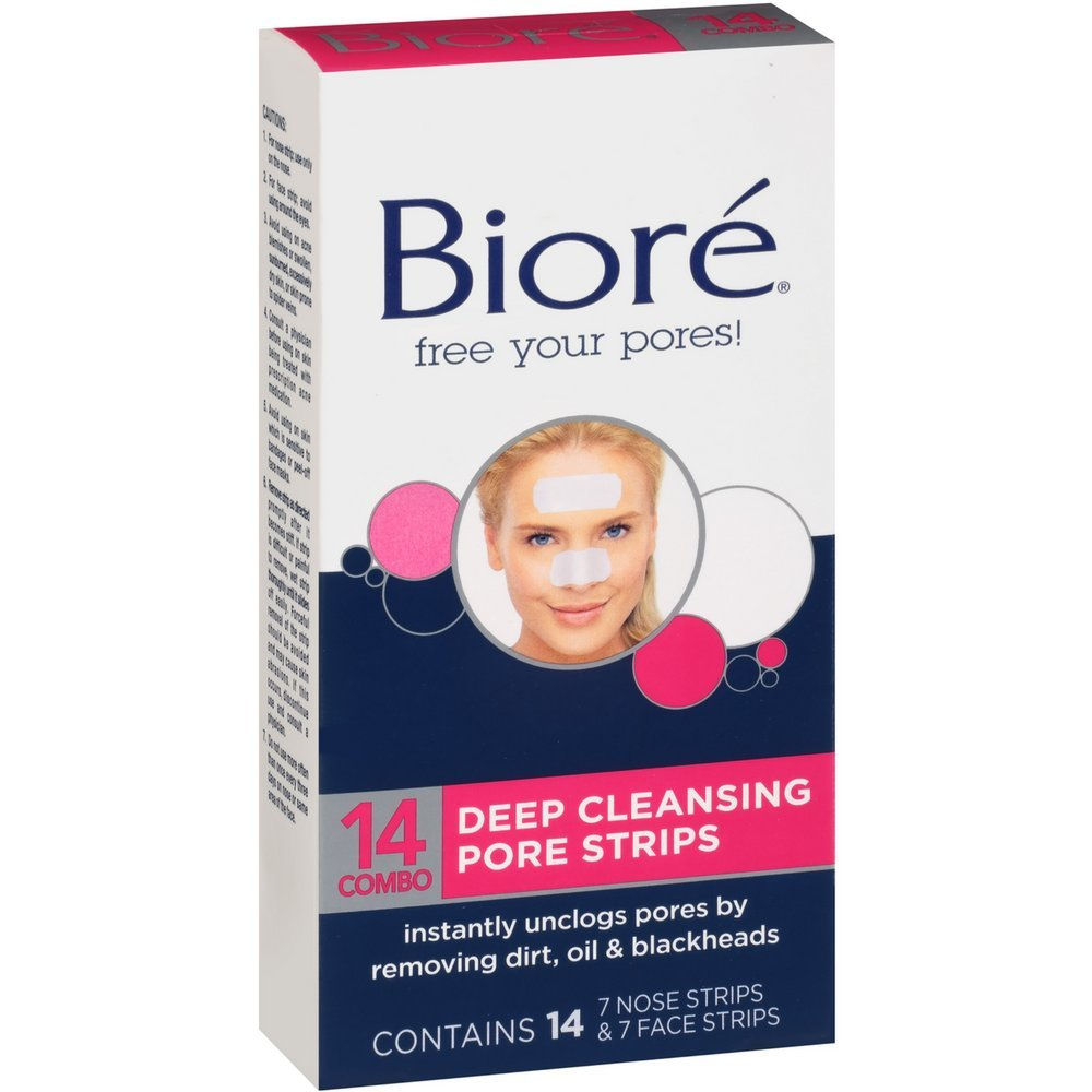 Biore Combo Pack Deep Cleansing Pore Strips Face/Nose 14 Each (Pack of 3)