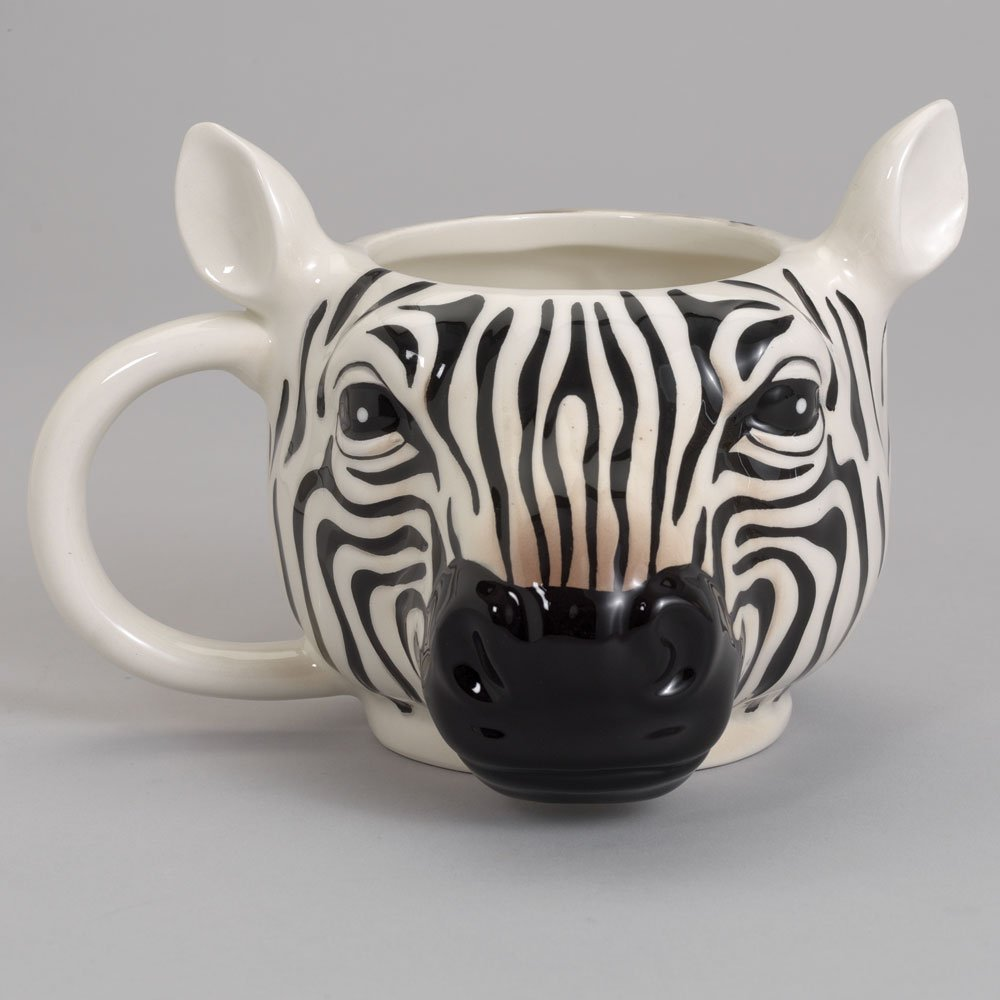 Bits and Pieces - 14 Ounce Zebra Striped Coffee Mug - Porcelain Animal Shaped Tea Cup by Bits and Pieces (Image #3)