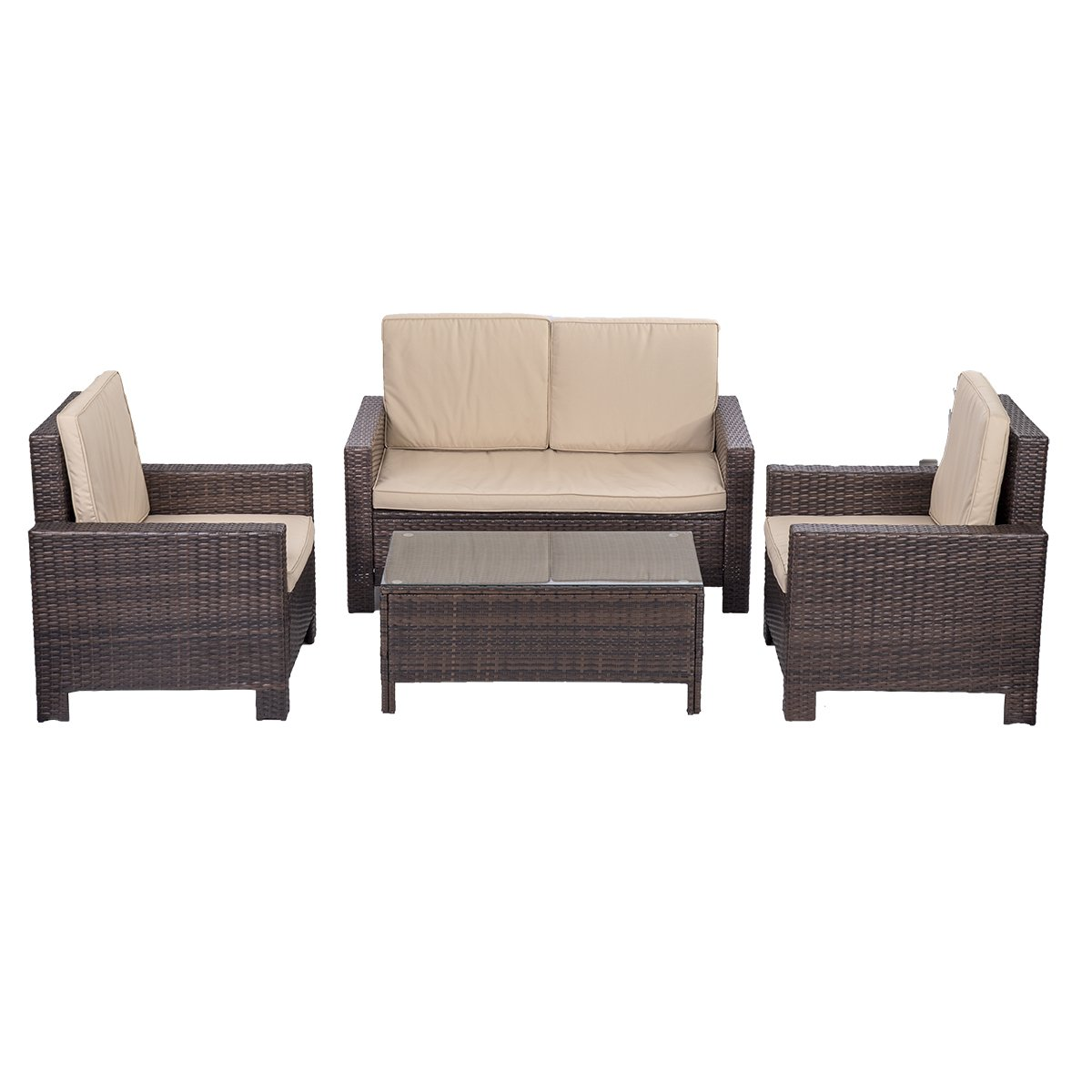 Amazon.com : Outdoor Patio Sofa Set Sectional Furniture PE Wicker Rattan Deck  Couch : Patio, Lawn U0026 Garden