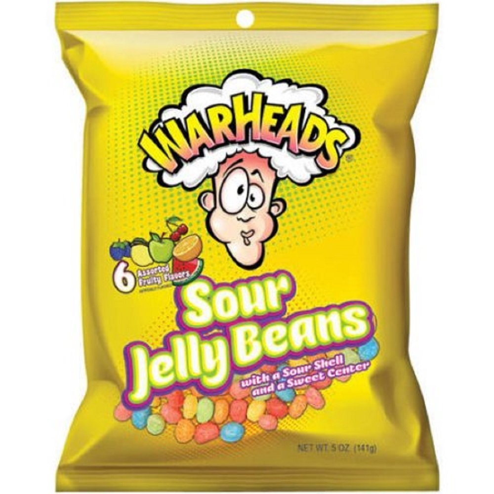 Warhead Sour Jelly Beans 5-Ounce Candy Bag 12 Count