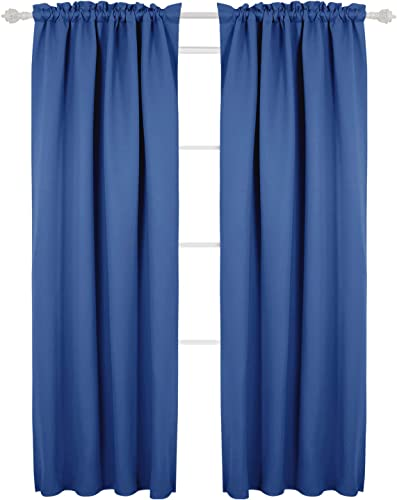 Deconovo Blackout Marble Pattern Texture Embossed Panels Thermal Insulated Curtains -Rod Pocket, 42Wx95L Inch, Sea Blue