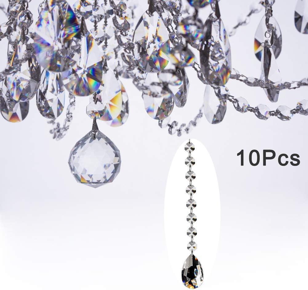 Fushing 10Pcs 305mm De Cristal De Lágrima De Lámpara De Prismas De Colgantes De Piezas De Hilos De Perlas