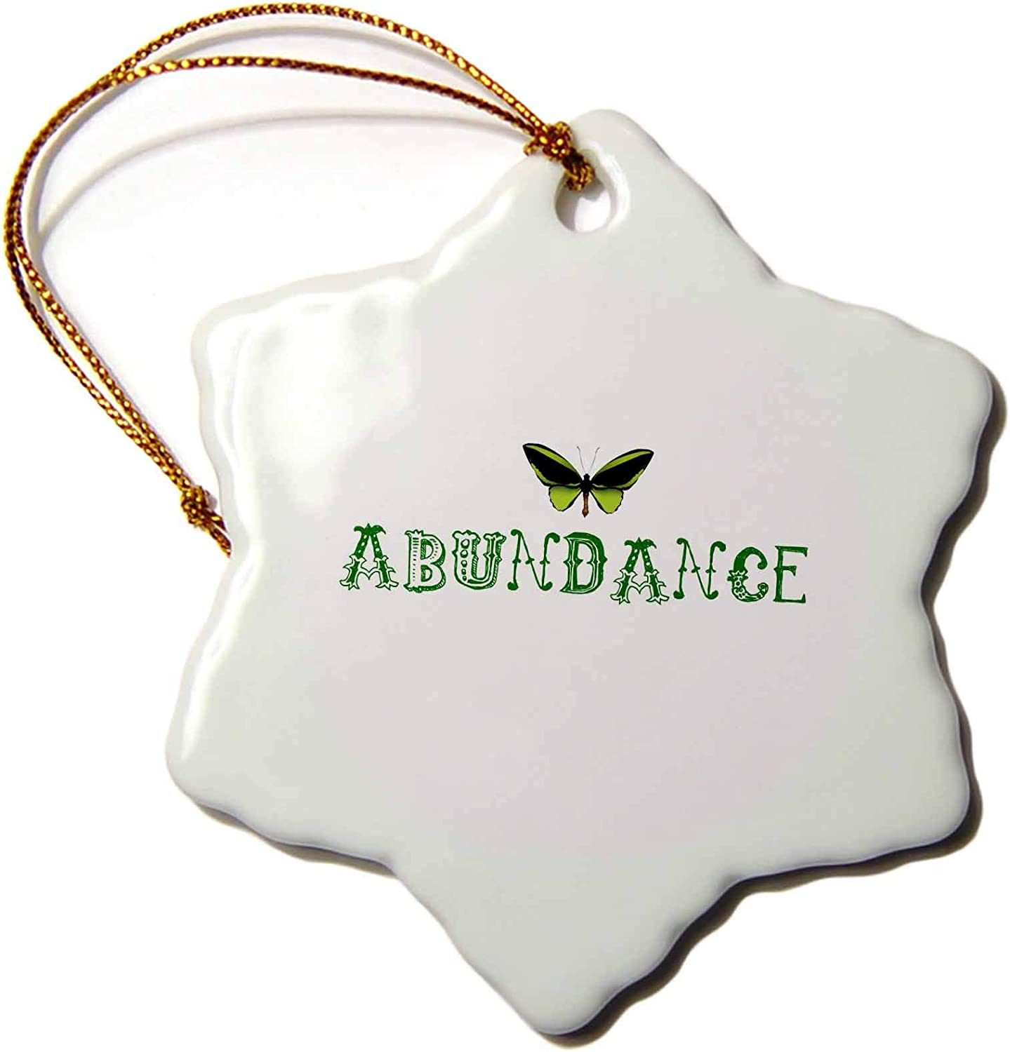 3dRose Abudnace Butterfly Law of Attraction Inspirational Words - Ornaments (ORN_30467_1)